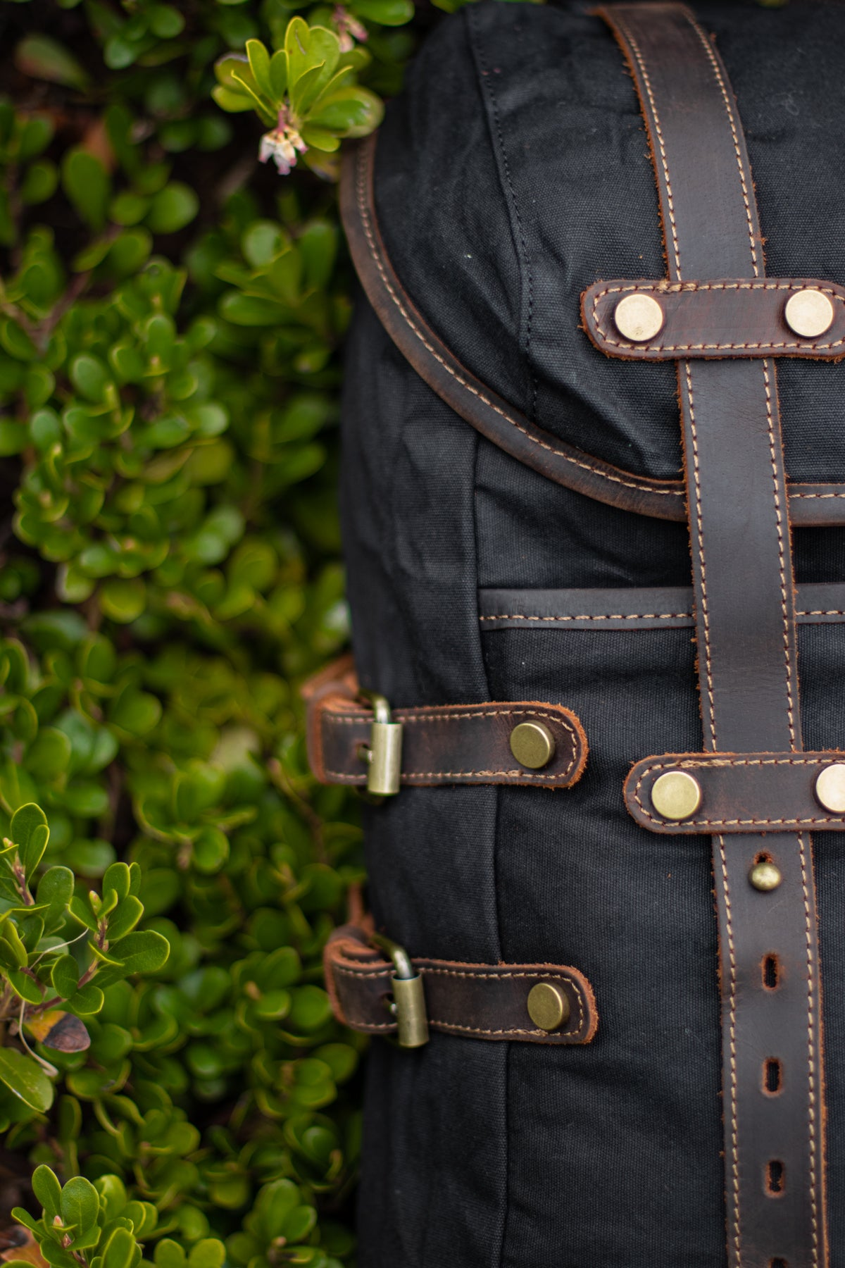 vintage style backpack leather straps