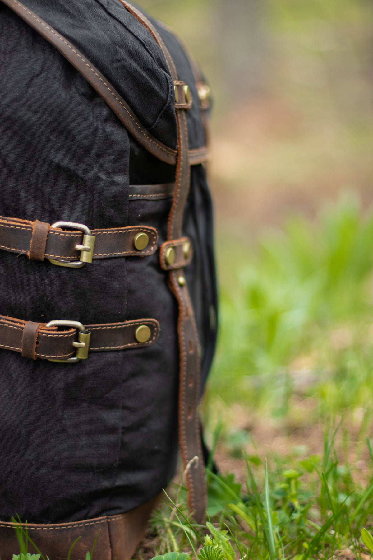 vintage style backpack nature