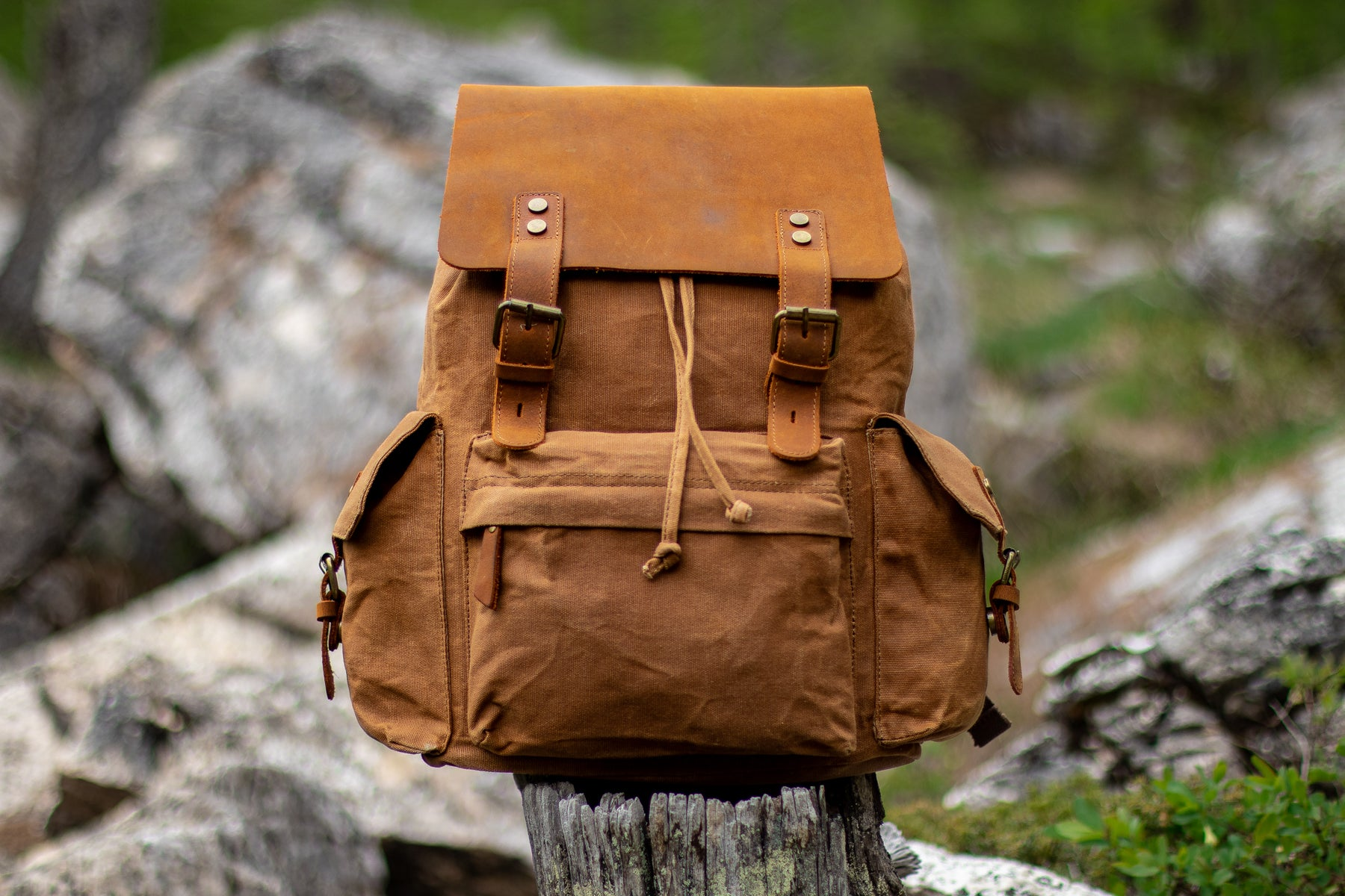 khaki waxed canvas backpack sitting on a wood branch