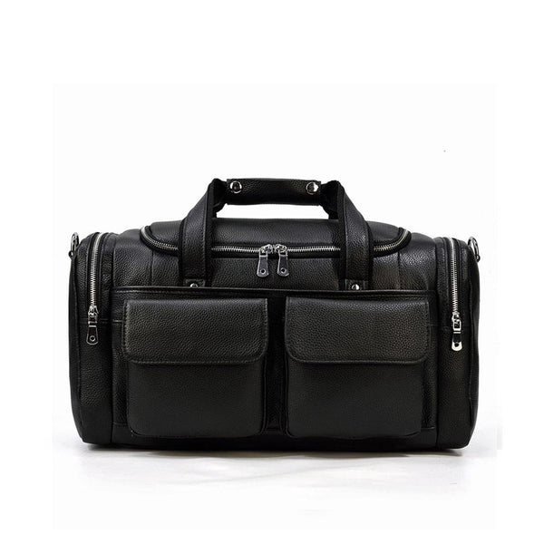 Black Leather Duffle Bag <br> MERIDA