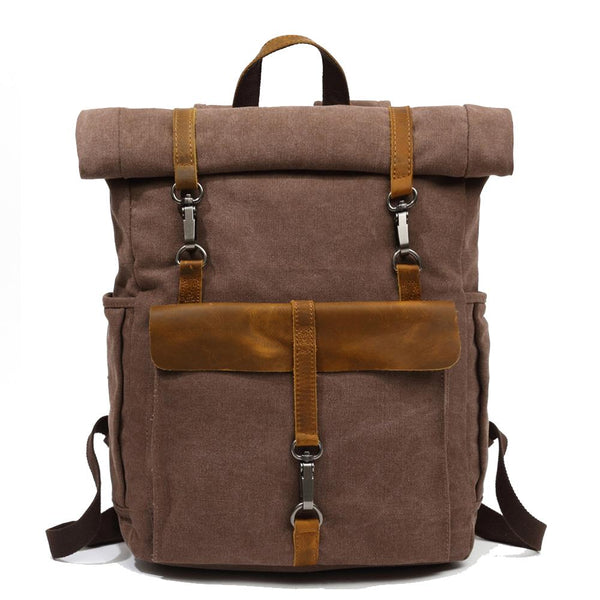 classic canvas backpack coffee
