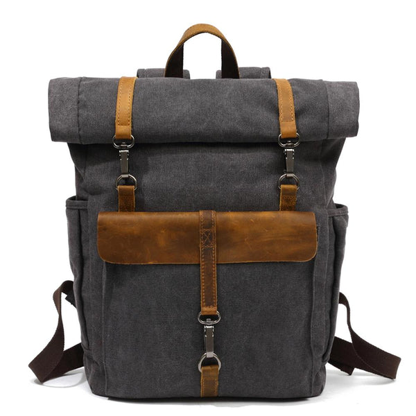 black retro canvas backpack