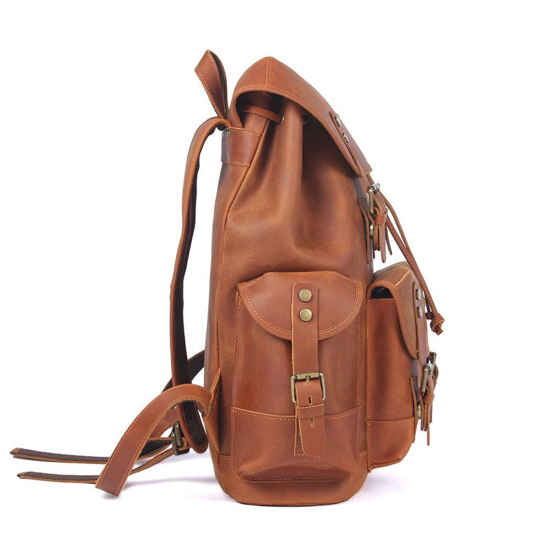 black leather backpack men