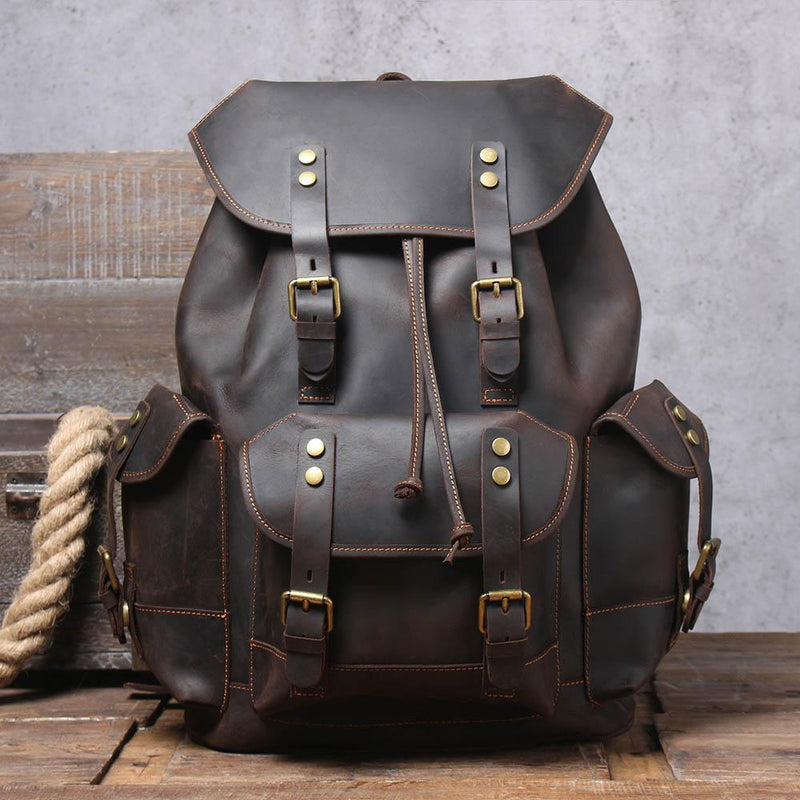 black leather backpack rucksack