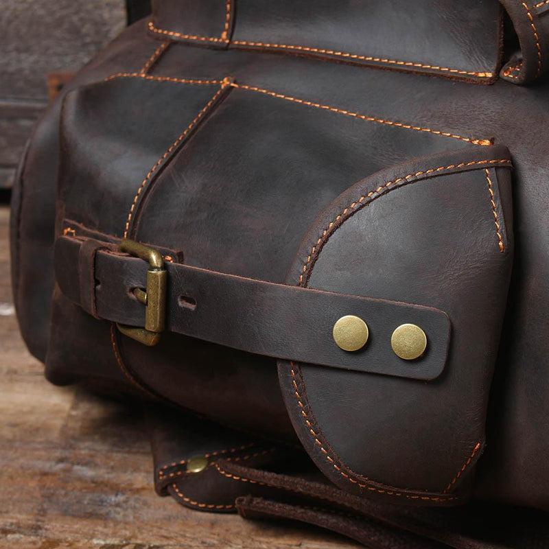 black leather bag rucksack
