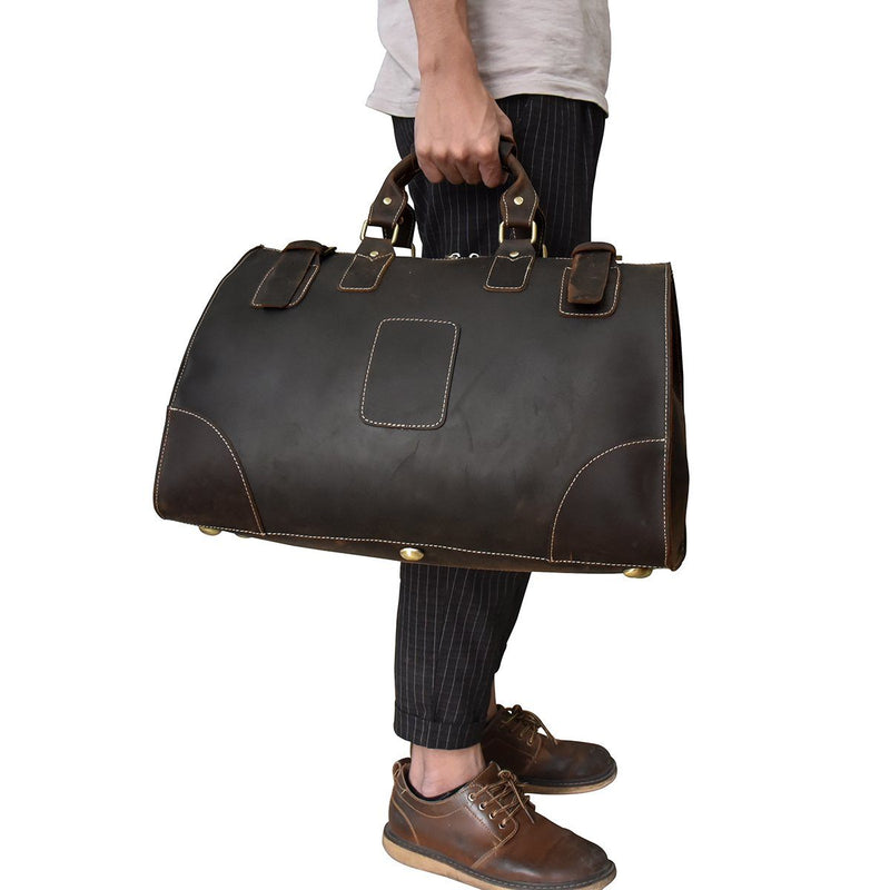 black leather duffel bags
