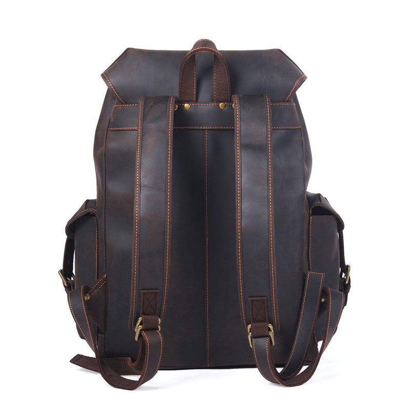black leather laptop backpack men