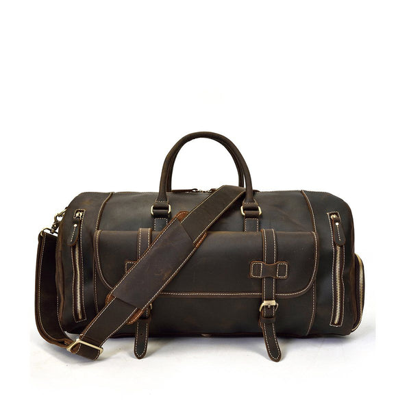 black leather weekend bag mens