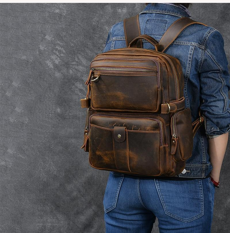 brown leather backpack mens