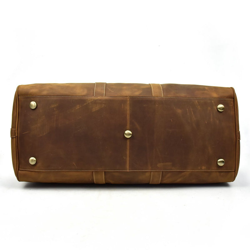 brown leather holdall weekend bag