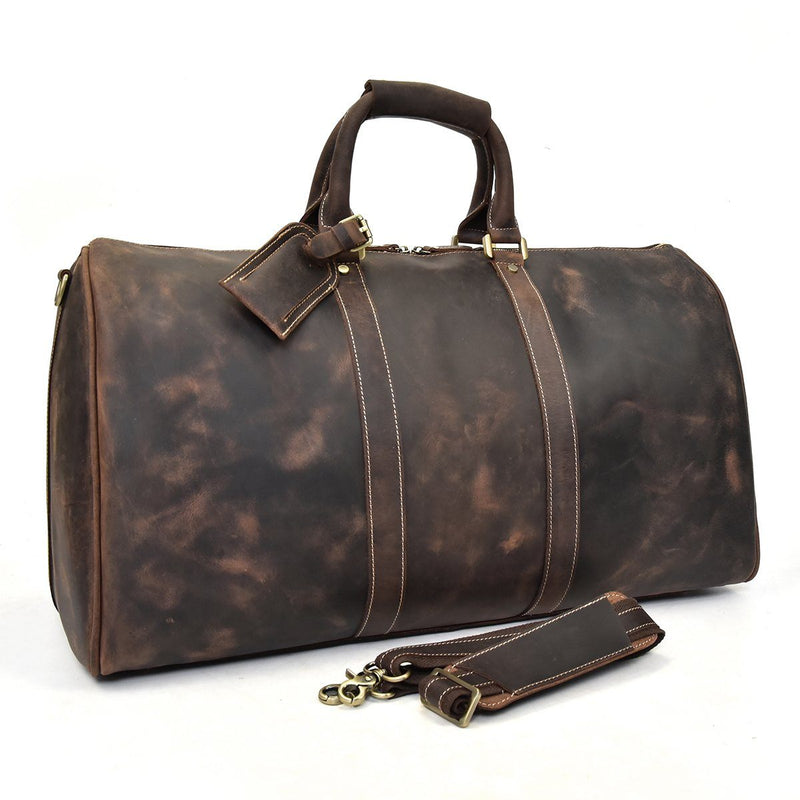 brown leather holdall womens