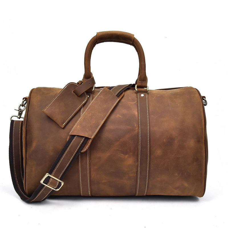 brown leather holdall