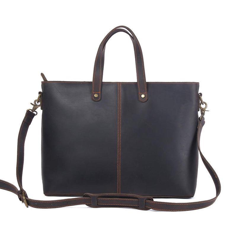 brown leather tote bag