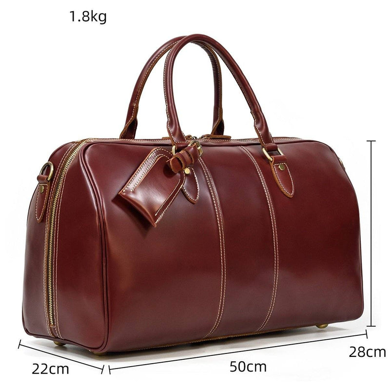 brown leather weekend bag mens