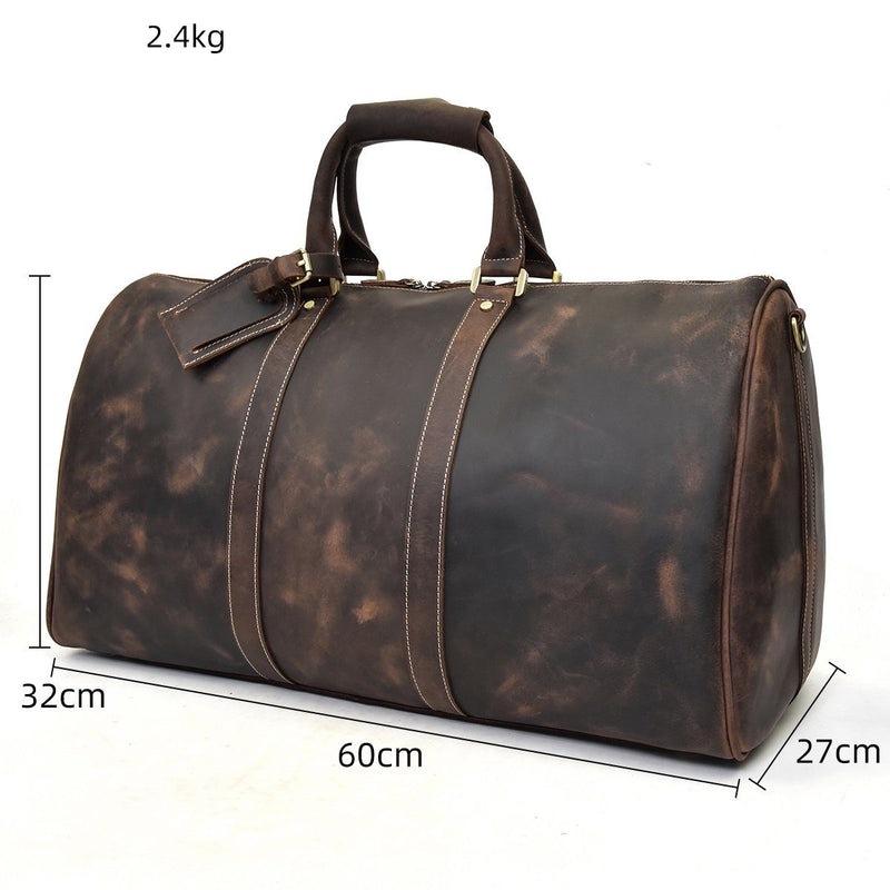 brown leather weekend holdall