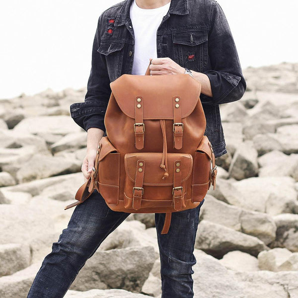 brown tan quality leather rucksack