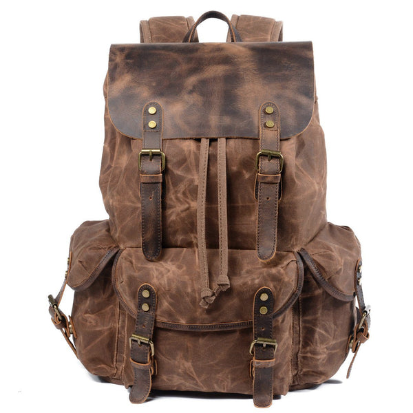 canvas and leather backpack men's