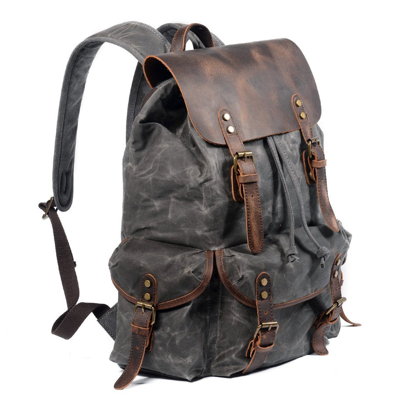 canvas leather rucksack backpack