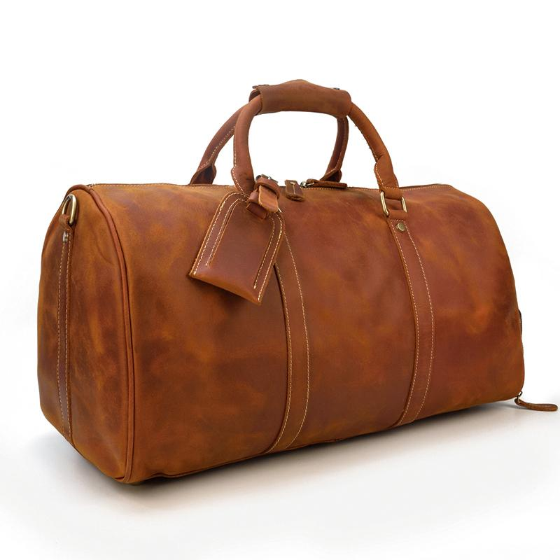dark brown leather duffle bag