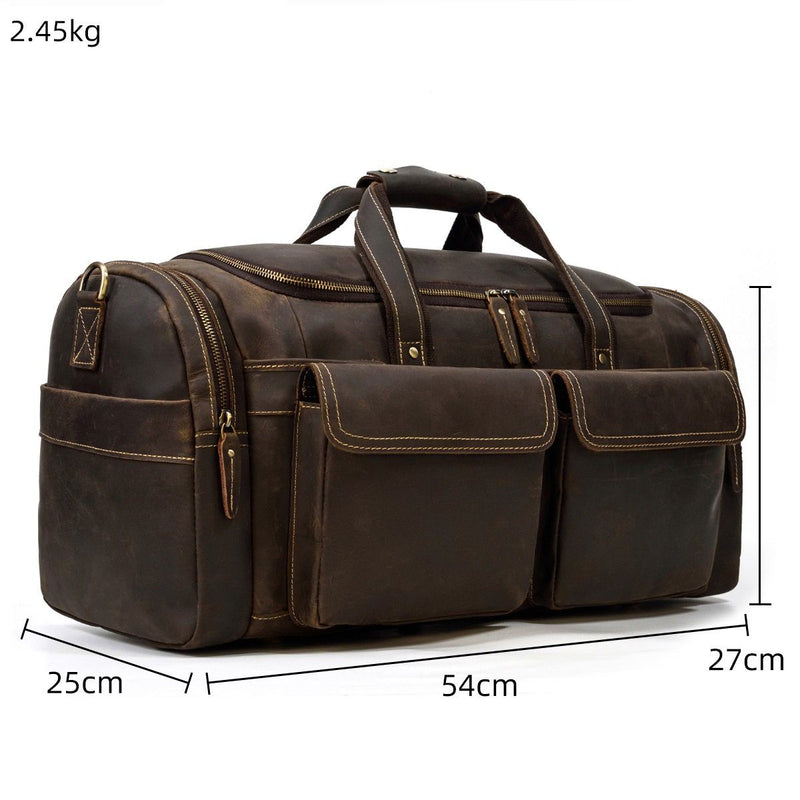 distressed leather duffle bag mens
