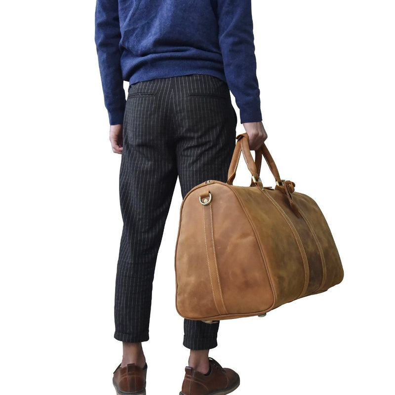 gents leather holdall