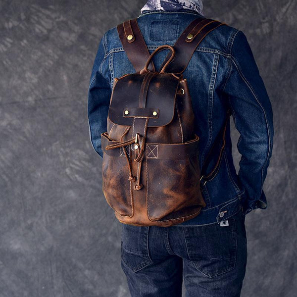 ladies tan leather backpack
