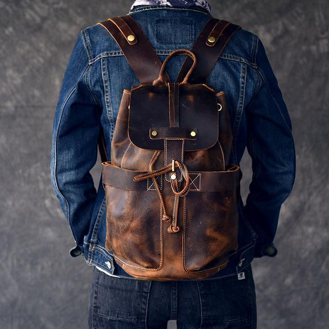 leather laptop backpack ladies