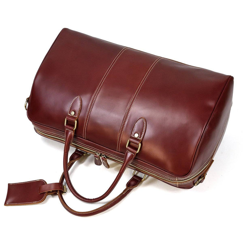 large leather weekend bag mens