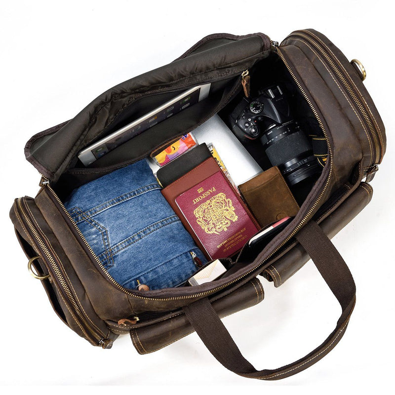 leather duffle bag mens travel