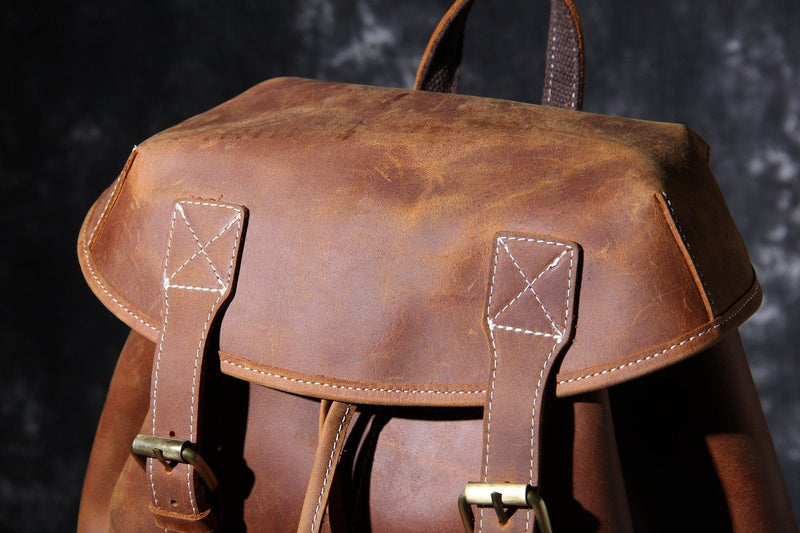 men leather knapsack