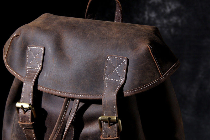 man leather knapsack