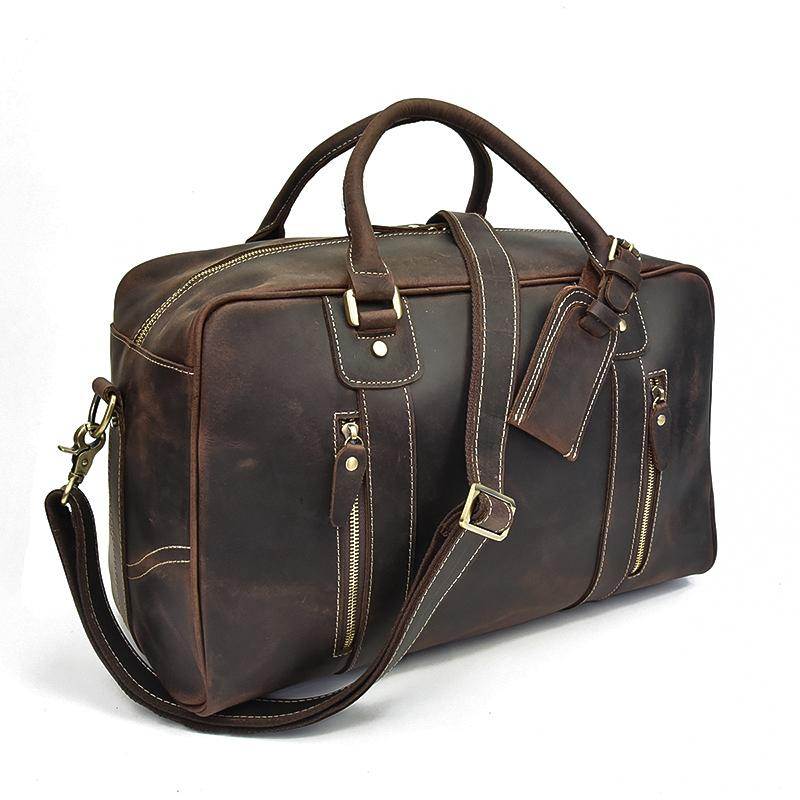 leather overnight bag womens