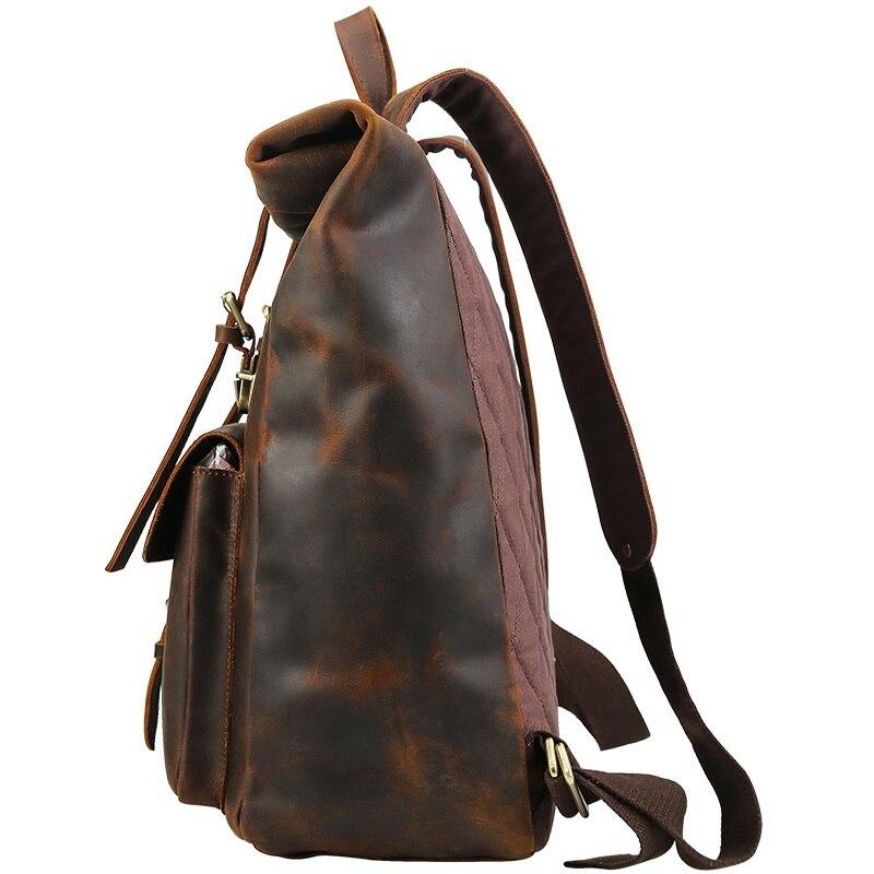 leather rucksack roll top