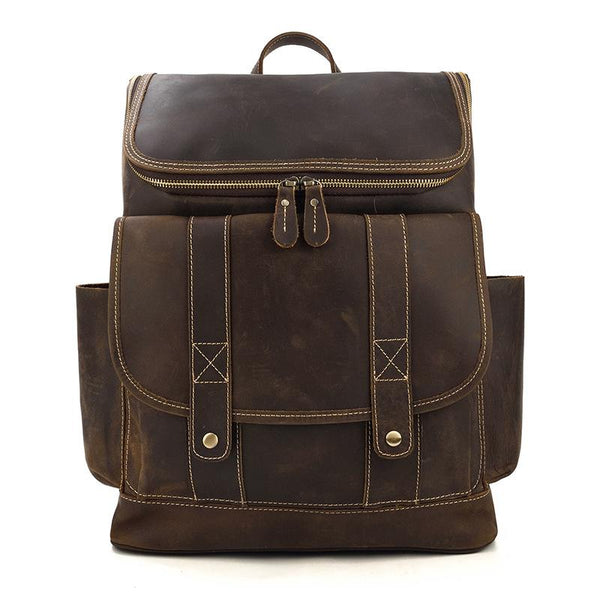 leather school backpack brown