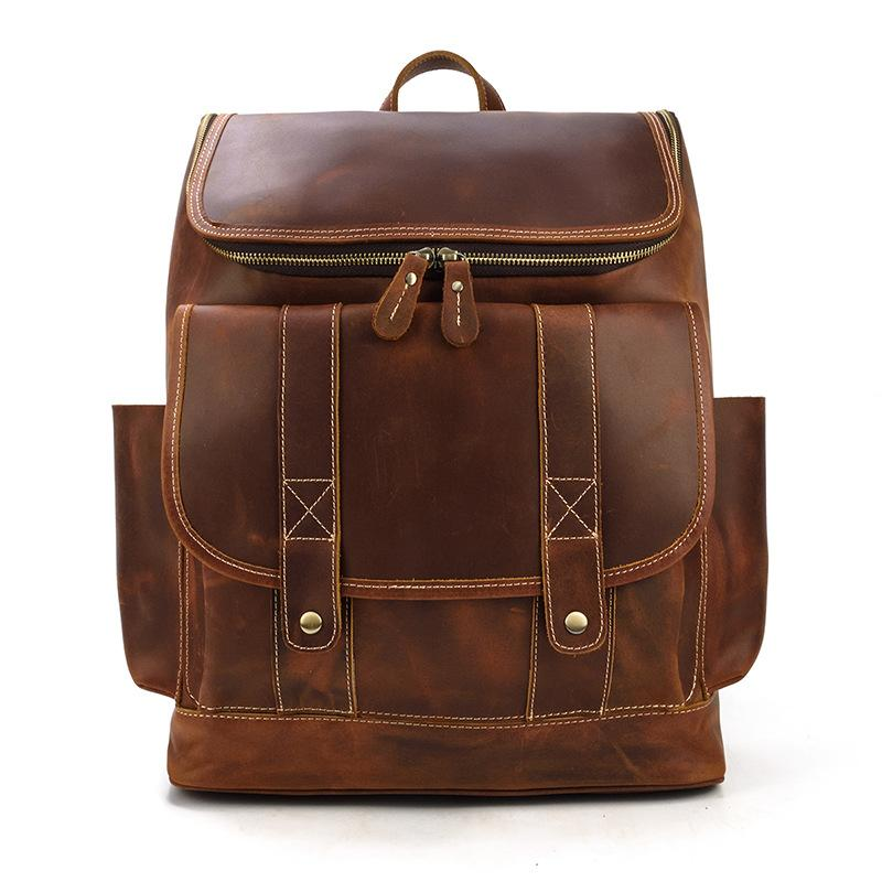 leather school backpack coffee