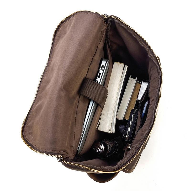 leather school backpack inside compartments