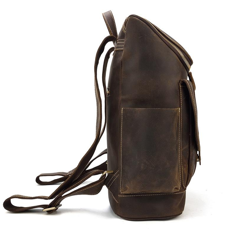 leather school backpack old school