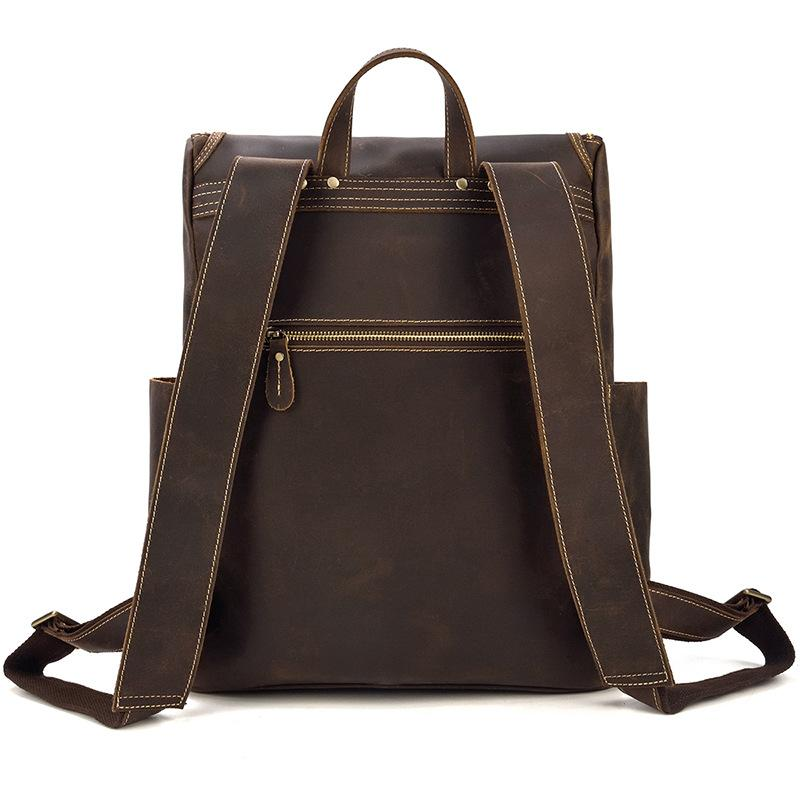 leather school backpack secret back pocket