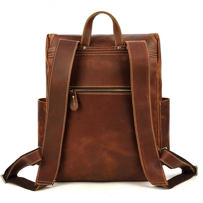 leather school backpack shoulder straps