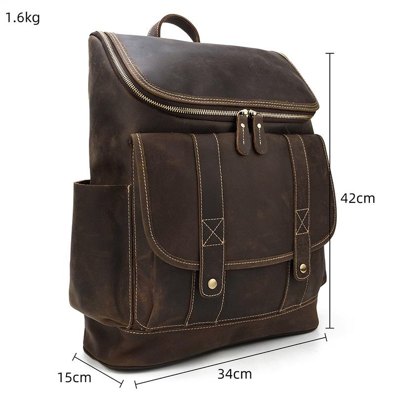 leather school backpack size