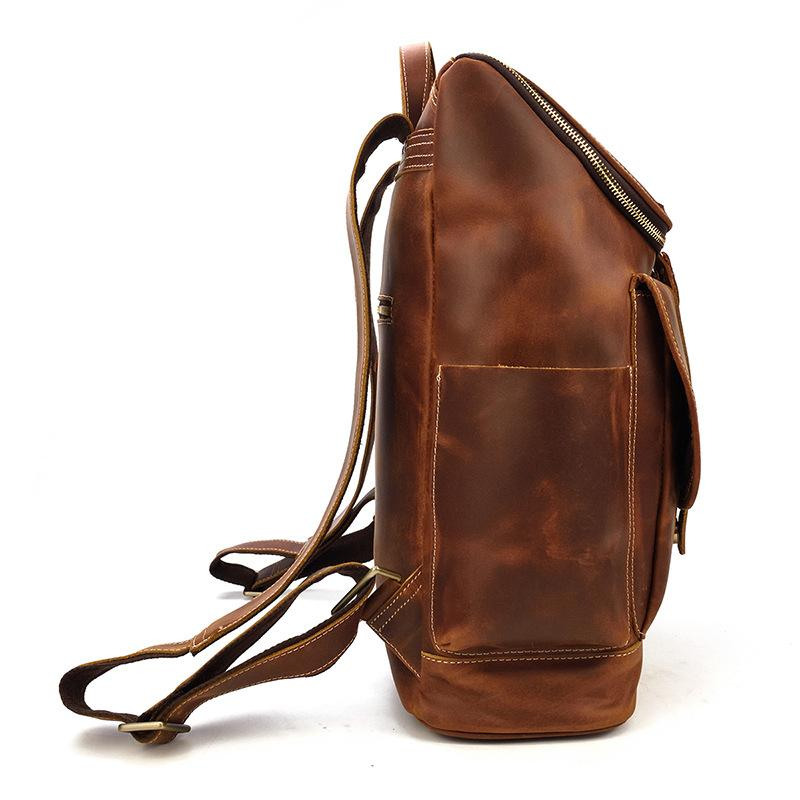 leather school backpack women