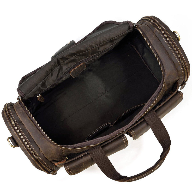 mens leather gym duffle bag