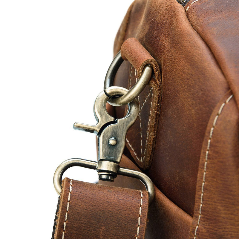 mens leather holdall weekend bag