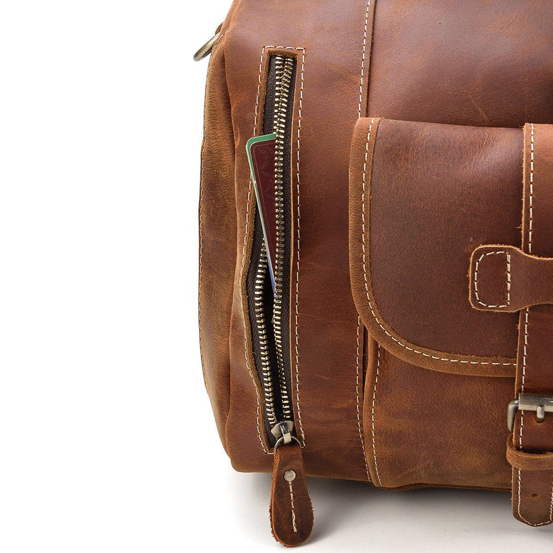 mens leather weekend bag uk
