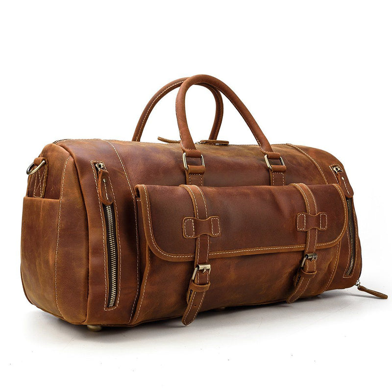 mens leather weekend bag with shoe compartment