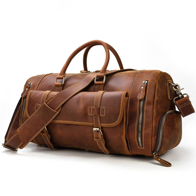 mens leather weekend duffle bag