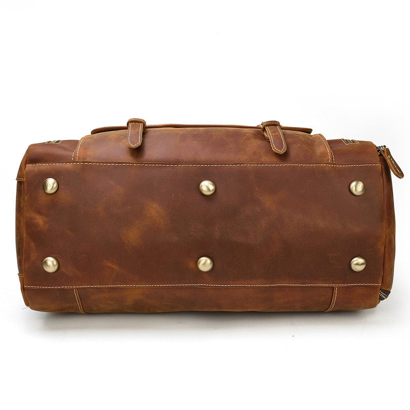 mens leather weekend travel bag