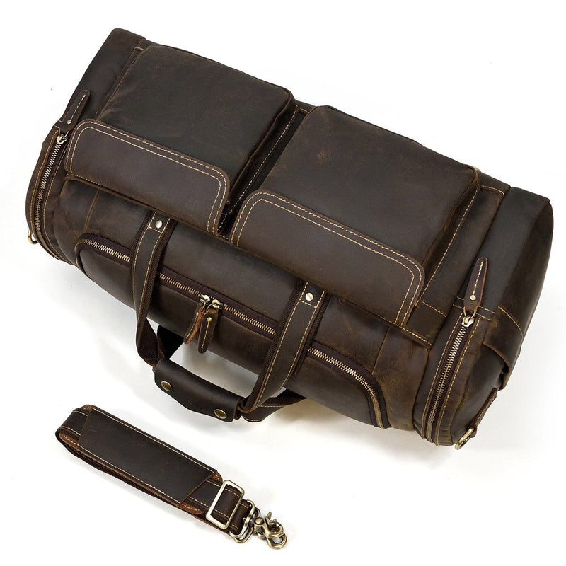 mens overnight duffle bag leather