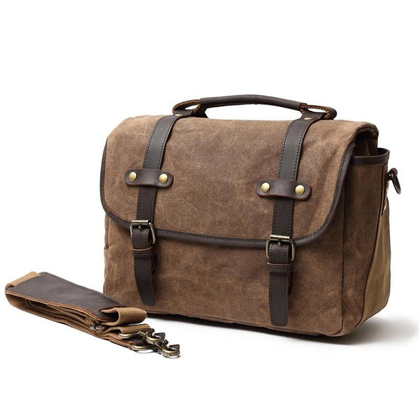 coffee Vintage Camera Messenger Bag - Canvas & Leather