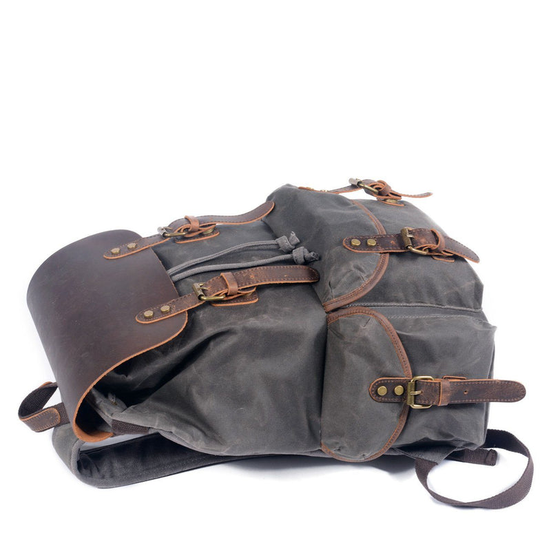 old style canvas backpack